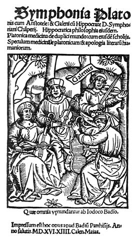 image of 1516 woodcut depicting  Plato, Aristotle, Hippocrates and Galen playing as a string quartet