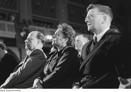 Photo of Shostakovich attending the Bach Festival in Leipzig 1950, sitting next to Walter and Lotte Ulbricht